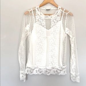 Tristan women's  lace top with sleeves.